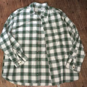 Orvis xxl green plaid button down cotton shirt